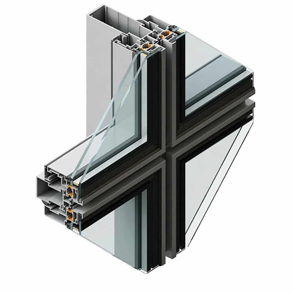 Fatada semistructurala din sticla si aluminiu